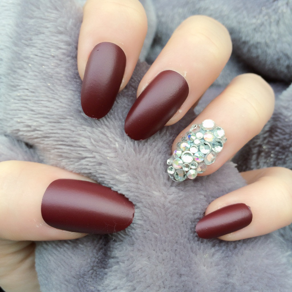 Deep Red Matte Black Oval Doobys Nails