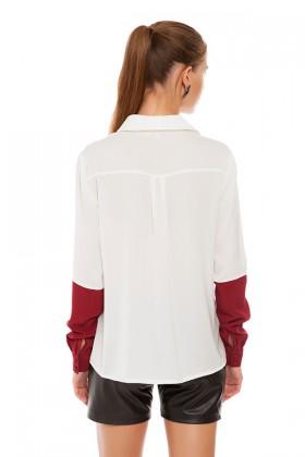 Ebru Karabayır Paul Beyaz Kolları Bordo Gömlek Lidyana