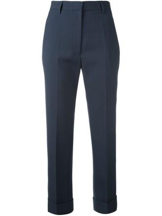 cropped women cotton blue wool pants