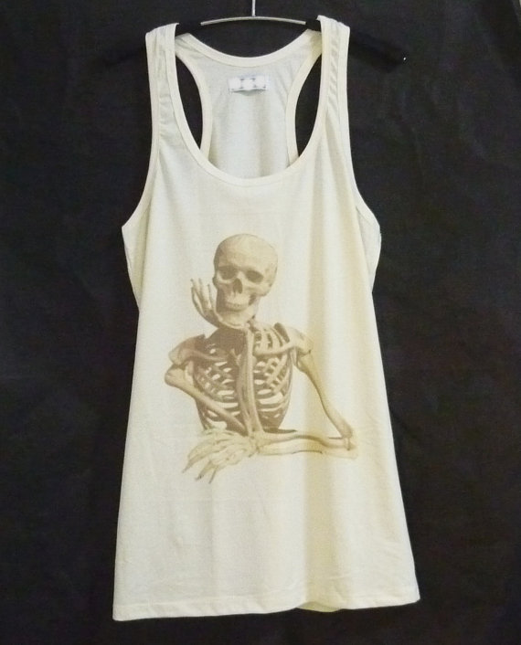 Skeleton tank top dress/ off white shirt/ sleeveless tops/ organic clothing/ women shirts/ teen girls outfit / gifts size s/m one size