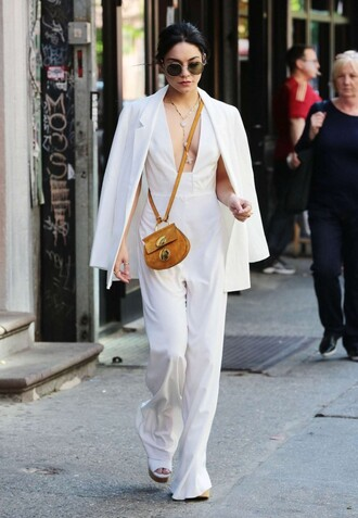 jumpsuit top blazer all white everything vanessa hudgens plunge v neck pants jacket celebrities in white all white outfit