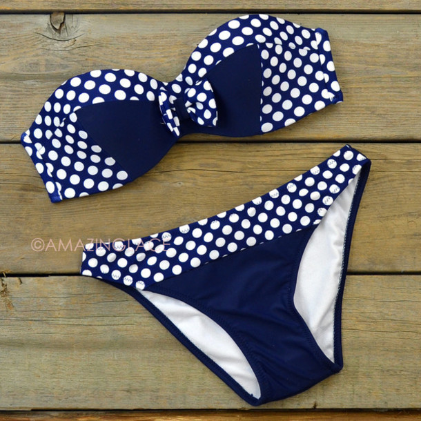swimwear bikini polkoa dots blue navy bows ribbon trendy pretty fashion spring summer beach