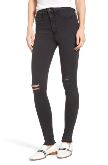 rag & bone/JEAN Ripped High Waist Skinny Jeans (Night with Holes) | Nordstrom
