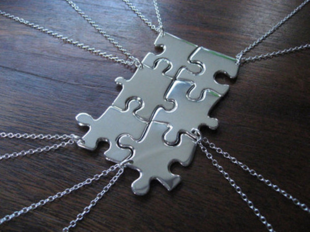 jewels puzzle necklace bff silver puzzle accessories accessories style chain