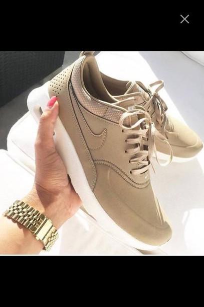 shoes, nike, nike air max thea, brown