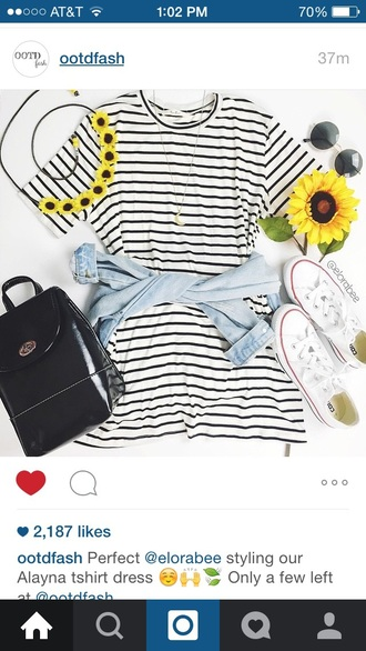 dress striped dress white and black tshirt