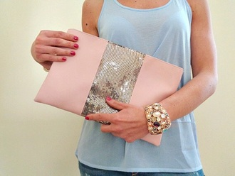 bag pink and silver clutch purse