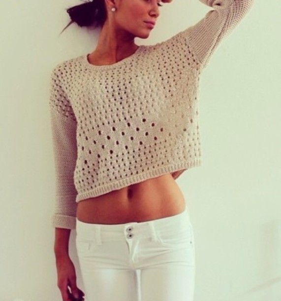 sweater see through cropped sweater beige sweater