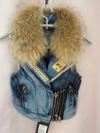 jacket jeans jeanjacket fashion fur coat vest
