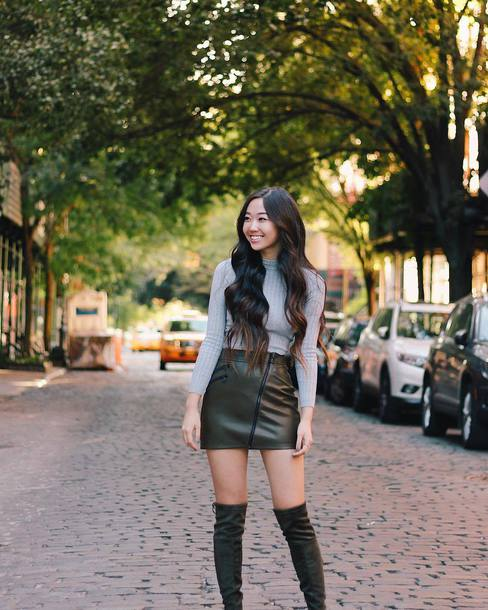 skirt tumblr mini skirt green skirt leather skirt zip zipped skirt top grey top turtleneck over the knee