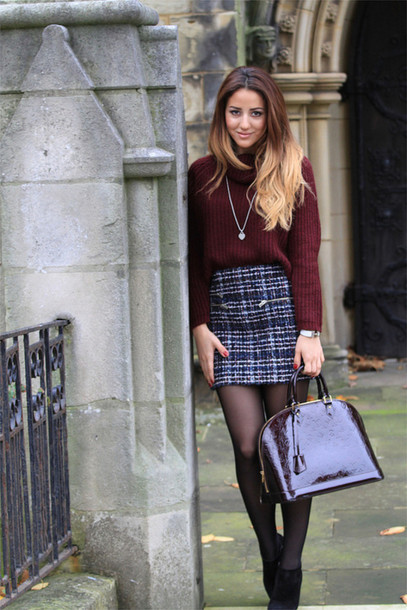 Bag Burgundy Bag Tweed Skirt Patent Leather Bag Dior