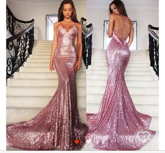 dress pinkish sparkly gown criss cross back