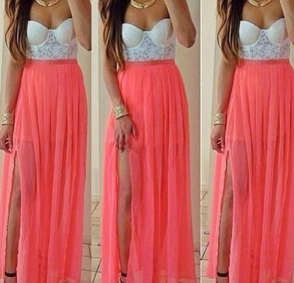 dress peach dress long dress