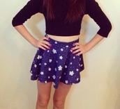skirt,blue,white flowers