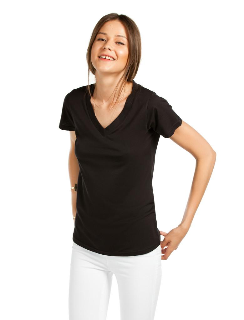 Bayan V Yaka Siyah Basic Tişört