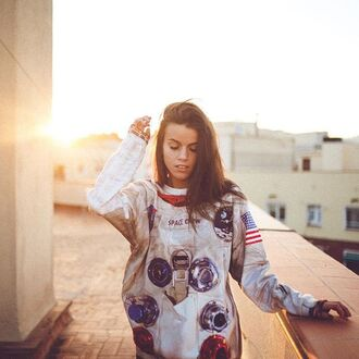 sweater printed sweater clothes style fall sweater winter sweater girl girly astronaut suit space suit apollo apollo 11 crewneck sweatshirt fusion brunette