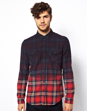 New Look | New Look Shirt in Dip Dye Plaid  at ASOS