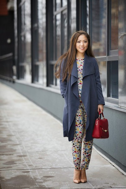 wearing fashion fluently blogger top red bag printed pants print grey coat grey trench coat