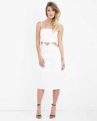 dress white white dress cut-out cut-out dress midi dress