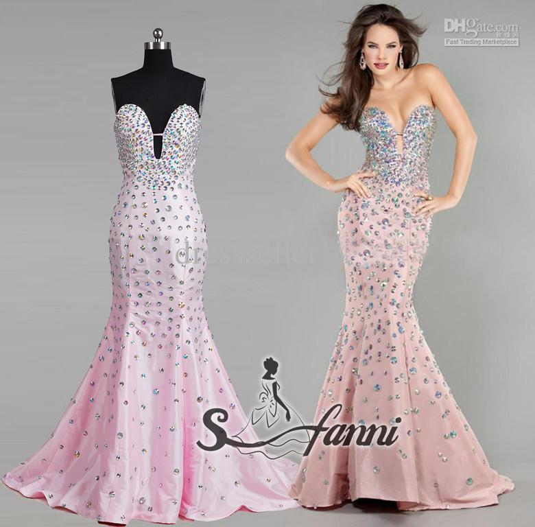 Length pink taffeta beaded crystal mermaid evening dress, $190.75