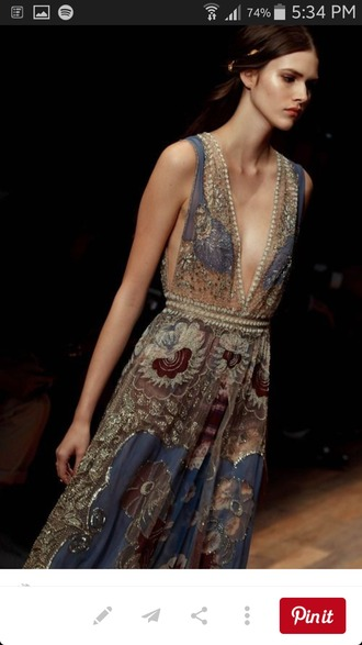 dress fashion gypsy boho boho chic boho dress gold flowery dress runway