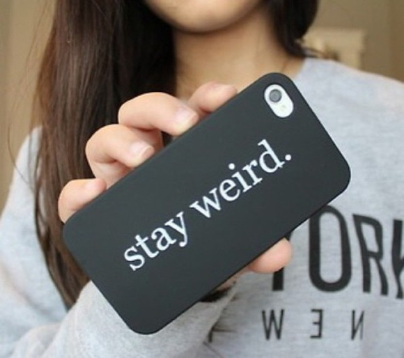 phone case stay weird quote sweater iphone case