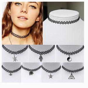 Trendy tattoo choker stretch necklace black retro henna elastic boho 90s gothic