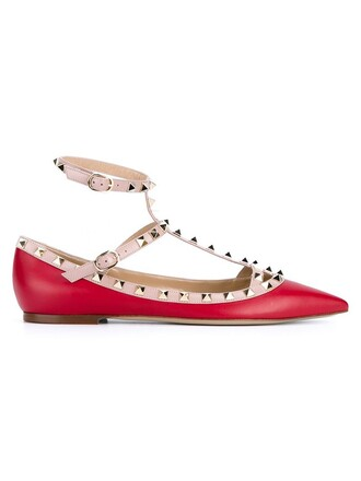 metal women leather red shoes
