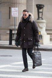 he spoke style,blogger,parka,mens coat,tote bag,mens parka,mens printed scarf