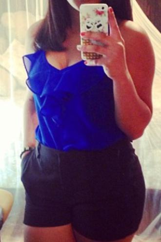 blouse blue ruffle royal blue blouse