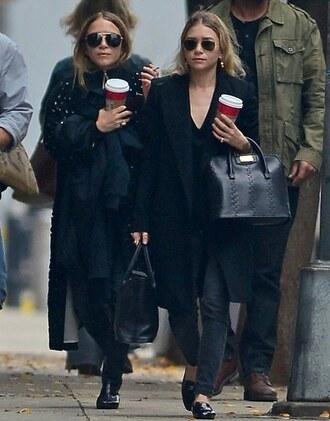 black jeans blogger sunglasses olsen sisters coat