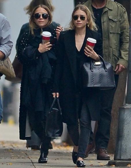 coat olsen sisters blogger sunglasses black jeans