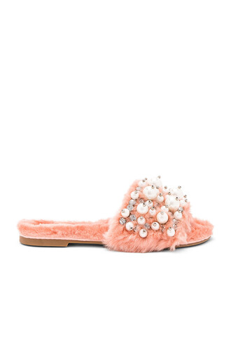 fur faux fur pink shoes