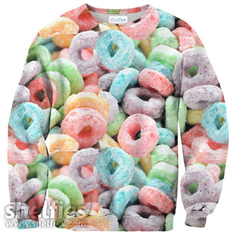 cereal food shelfies printed sweater