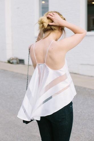 top mesh mesh top white top fashion style