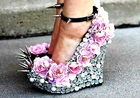 floral pink flowers summer spring sexy cute shoes silver diamonds diamond yellow rose wedges rhinestones rhinestone black wedges spikes