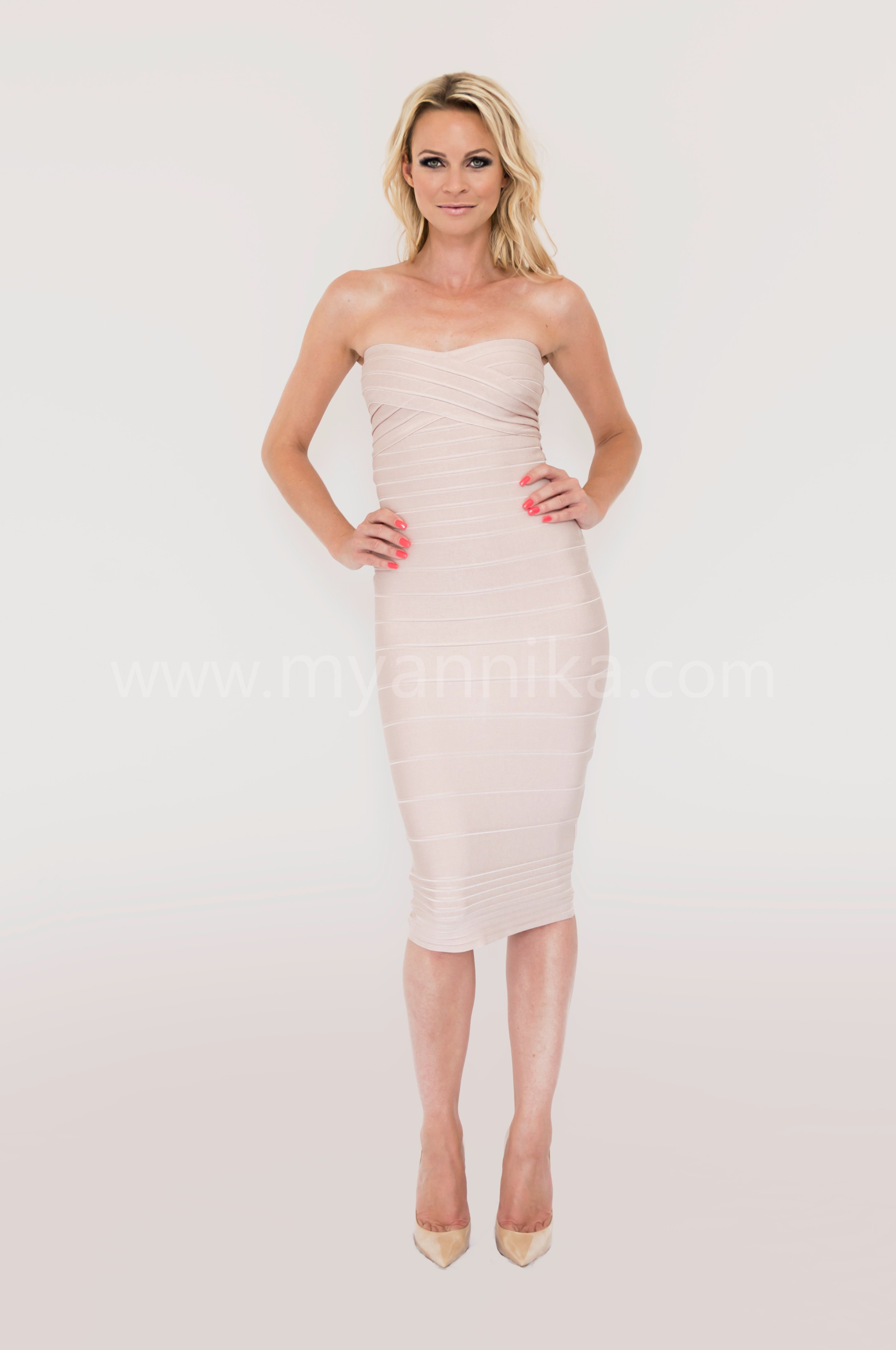6242f32f43 Paris long - Nude Over the Knee Strapless Bandage Dress Annika - Bandage  Dresses | Celebrity Party Dresses ...