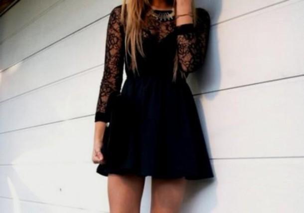 dress, black, pale, grunge, cute, tumblr, lace, black dress, soft grunge - Wheretoget