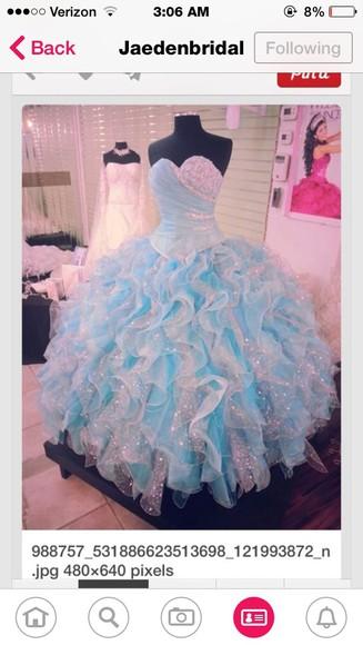 blue dress sparkle dress puffy prom dress bedazzle
