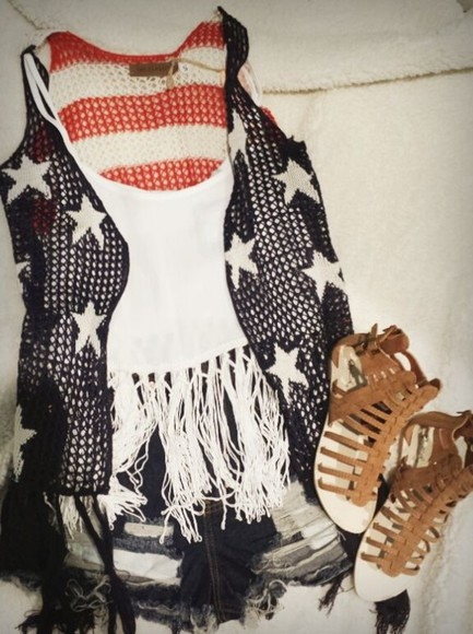shoes america american flag cardigan fashion