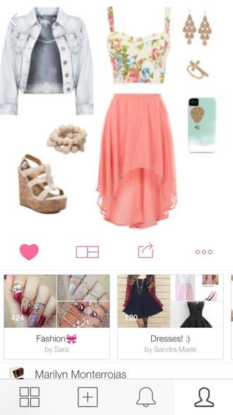 top jacket jean jacket tank top white floral tank top pink skirt pink skirt wedges earrings phone case cross ring bracelets