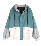 jacket,girly,corduroy,corduroy fashion,hooded jacket,teal,white,grey