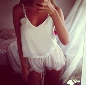 underwear,clothes,pajamas,blouse,white,short,shorts,flowy,volants,silk top,fashion,white blouse,white shorts,silky,shirt,cami,t-shirt,top,crop tops,encrusted,jeweled,rings jeweled colorful,jacket,tank top,silk,glitter,spaghetti strap,soft,sleep,sleepwear,ties,loose,white top,white t-shirt,girls shirt,sparkle,diamonds,jewerly tops,jewerly,ivory