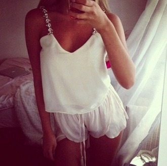 underwear clothes pajamas blouse white short shorts flowy volants silk top fashion white blouse white shorts silky shirt cami t-shirt top crop tops encrusted jeweled rings jeweled colorful jacket tank top silk glitter spaghetti strap soft sleep sleepwear ties loose ivory