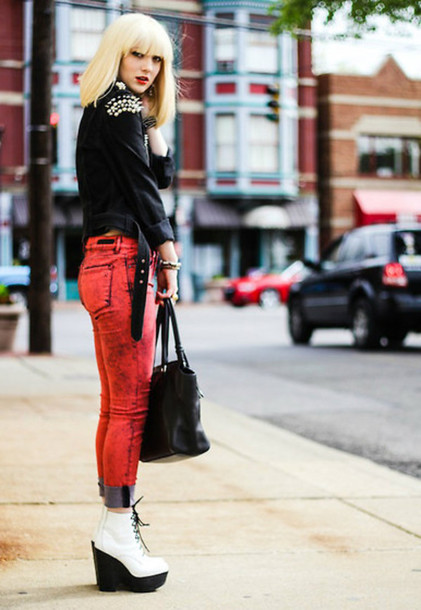 jeans red skinny jeans acid wash