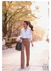 blouse,white,cotton,career,pants,blush,dress pants,wide leg,high waisted,pink,flare,bag,high waisted pants,pleated,wide-leg pants,pumps,white shirt,v neck,white cardigan