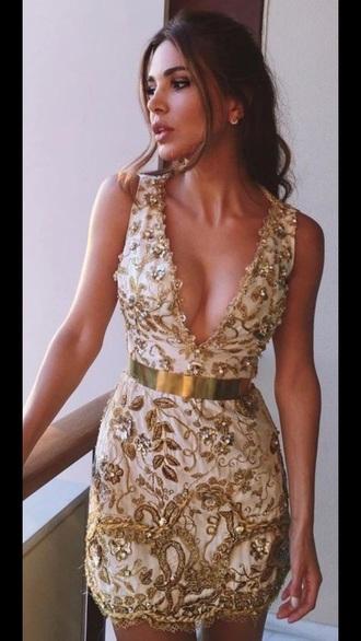 dress gold gold dress belted dress embroidered dress plunge v neck party dress