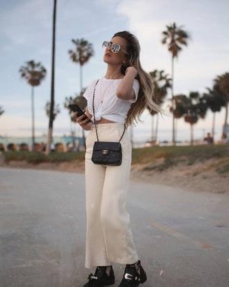 pants nude pants bag chanel sunglasses wide-leg pants white t-shirt t-shirt chanel bag