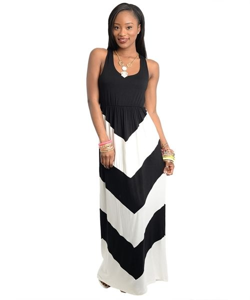 Sexy Chevron Black White Color Block Maxi Tank Chic Dress Sundress Beach s M L | eBay