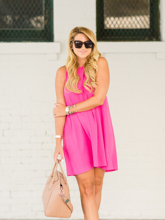 shop dandy blogger dress shoes bag sunglasses make-up jewels pink dress mini dress nude bag beige